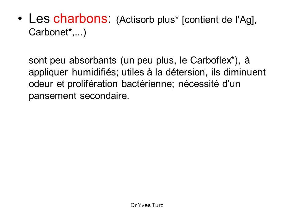 Les charbons: (Actisorb plus* [contient de l'Ag], Carbonet*,...)